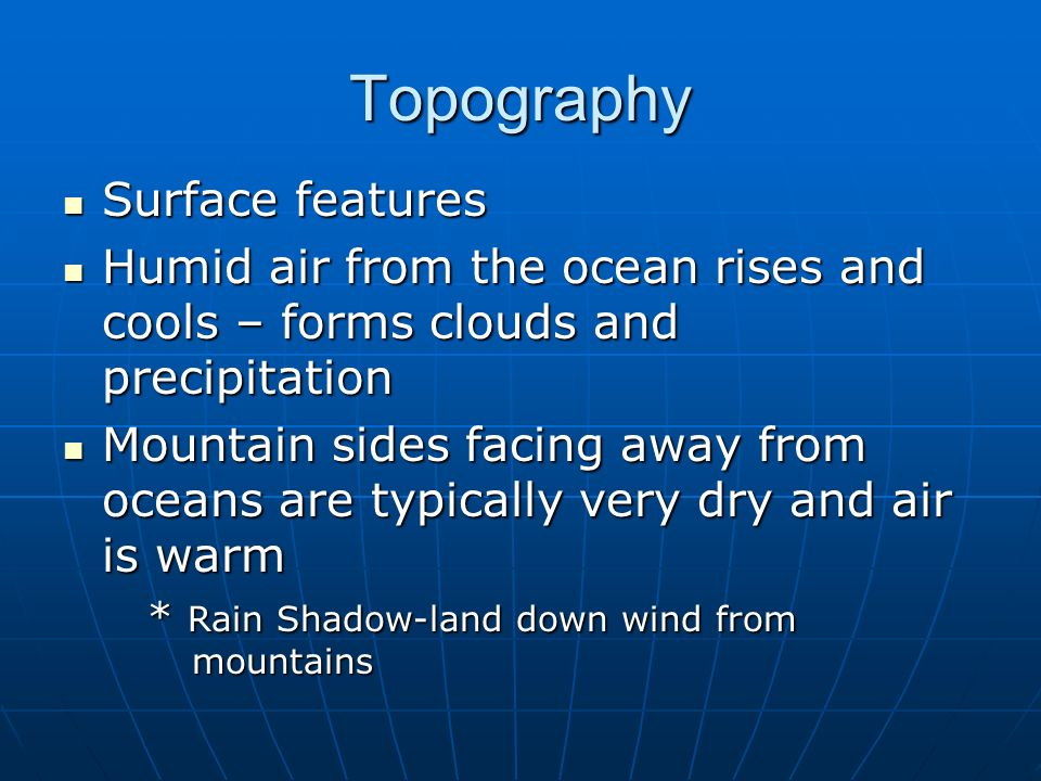 Topography Surface features