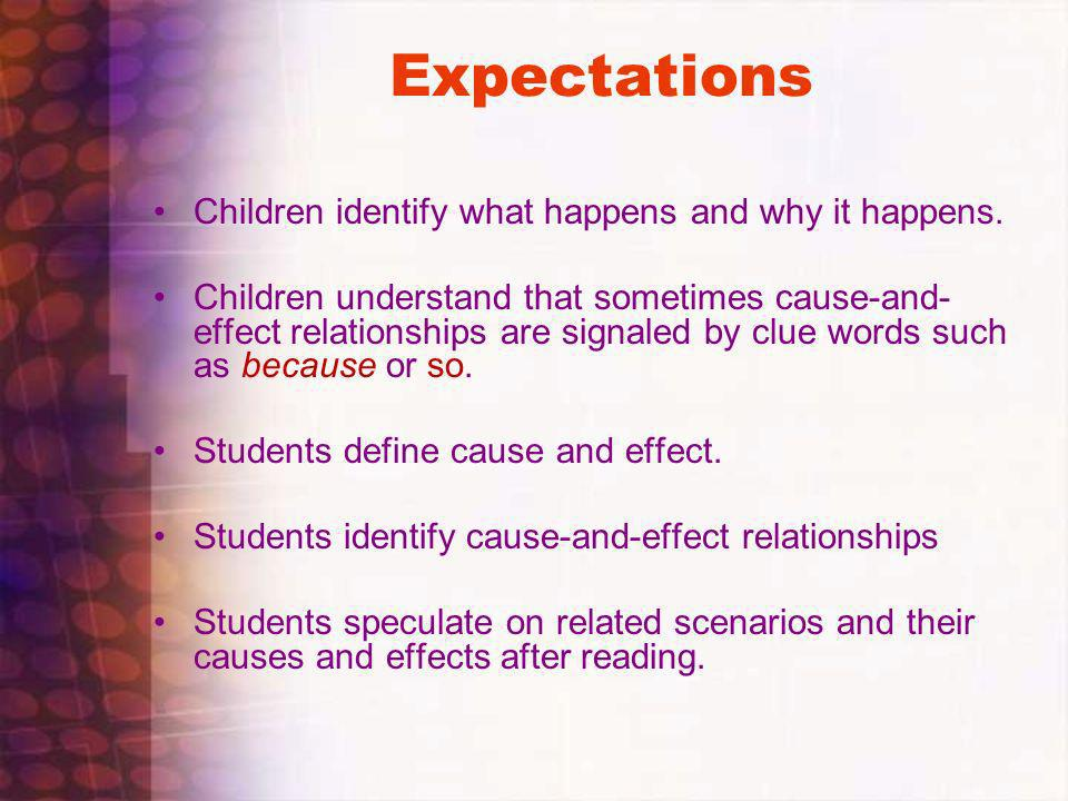 Expectations Children identify what happens and why it happens.