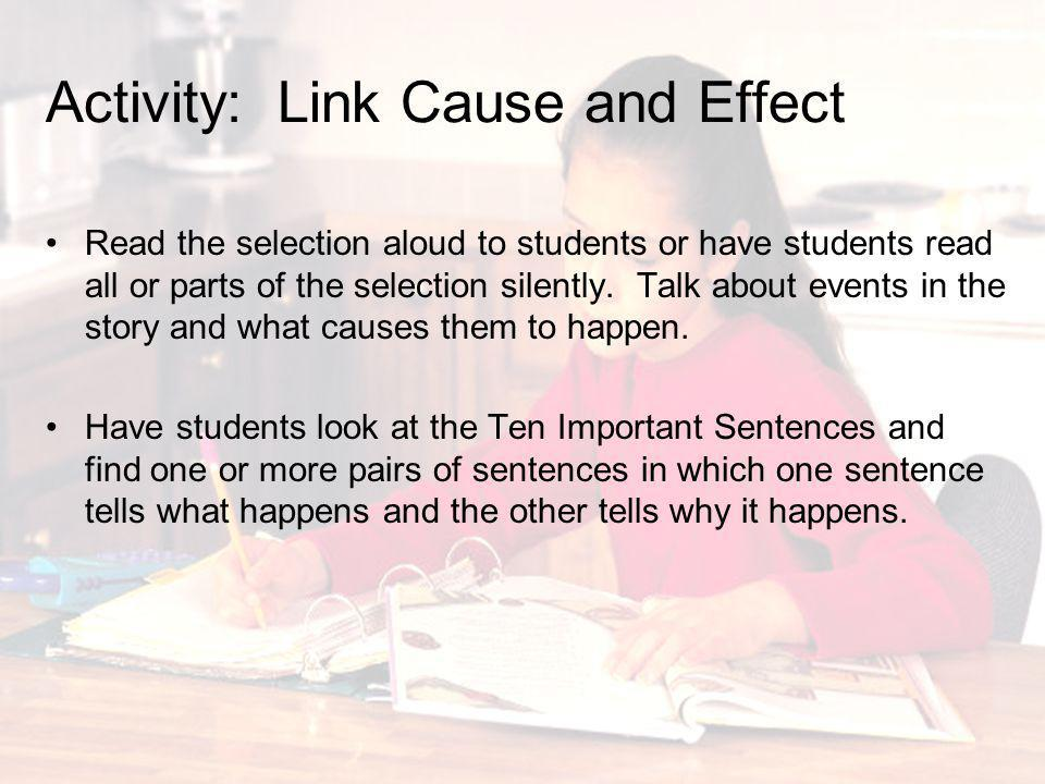 Activity: Link Cause and Effect
