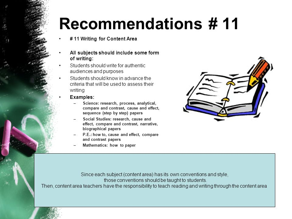 Recommendations # 11 # 11 Writing for Content Area