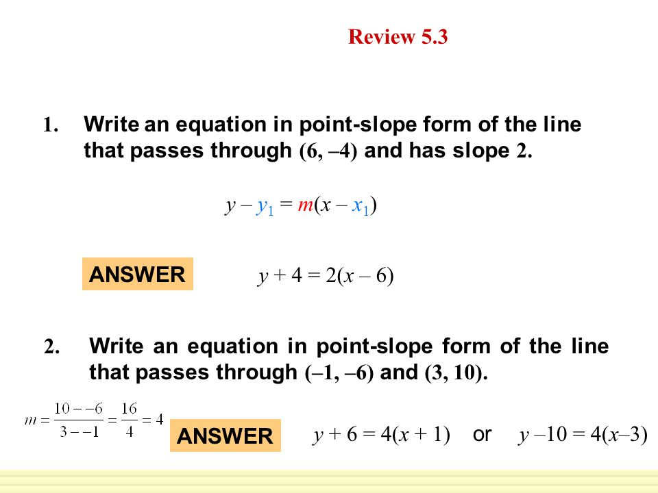 point slope form quiz  Daily Homework Quiz Review ppt download