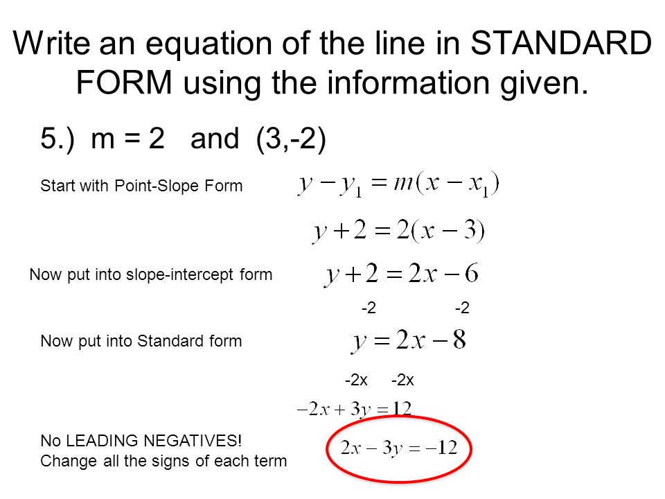 point slope form into standard form  Daily Homework Quiz Review ppt download