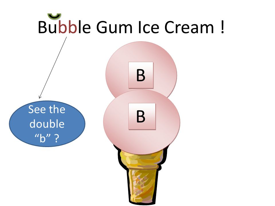 Bubble Gum Ice Cream ! B See the double b B B