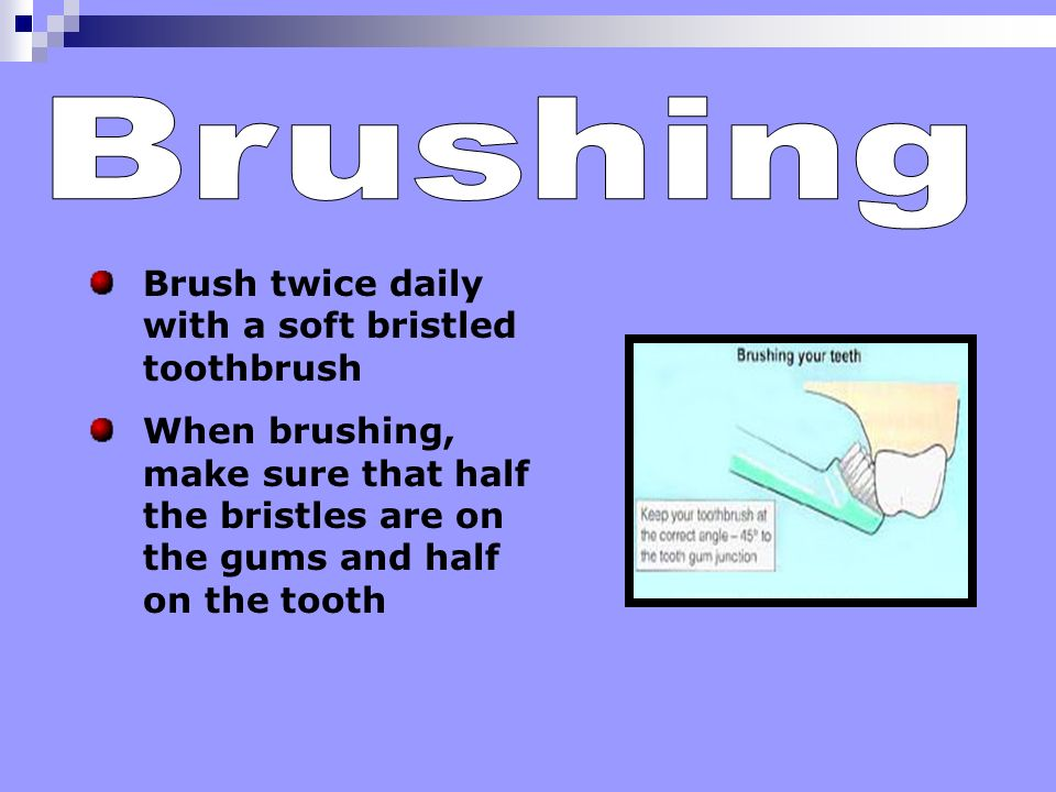 Brushing Brush twice daily with a soft bristled toothbrush