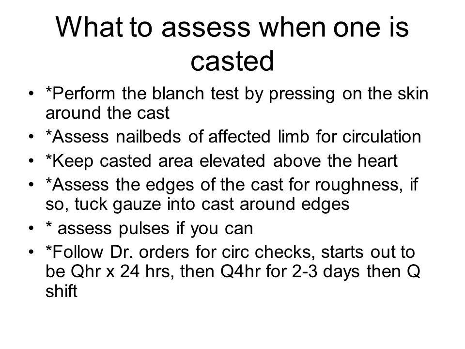 What to assess when one is casted