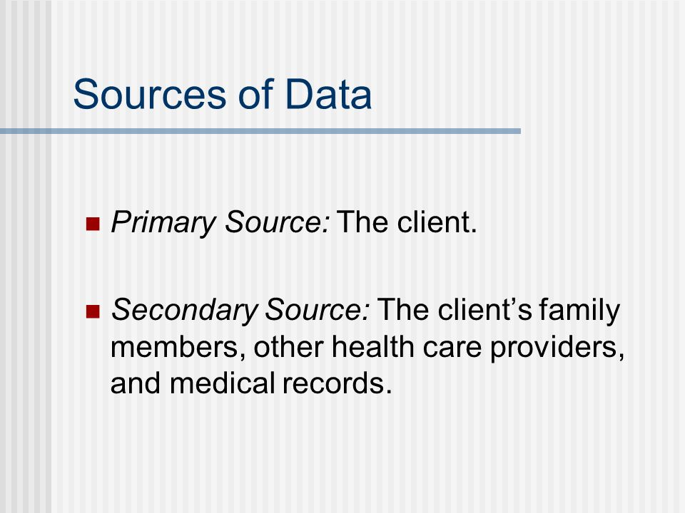 Sources of Data Primary Source: The client.