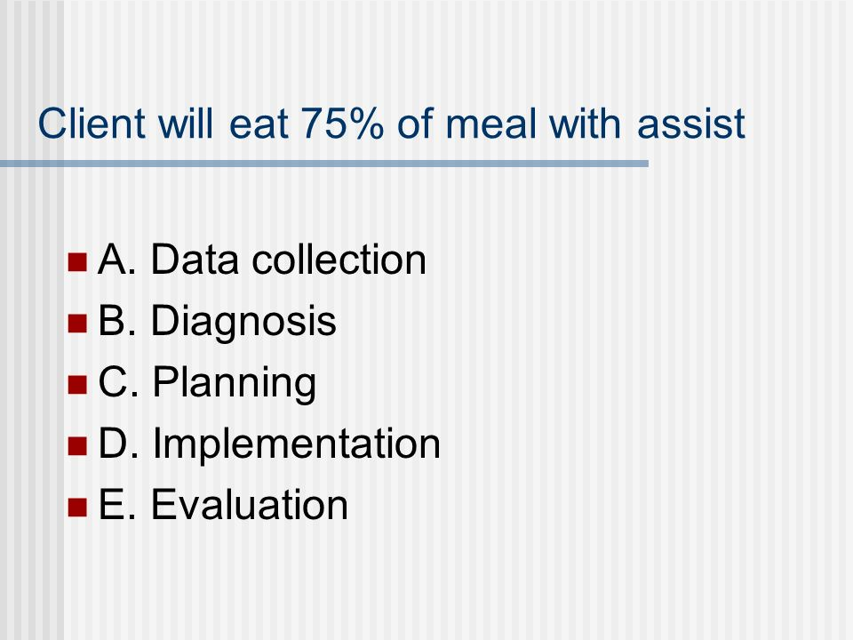 Client will eat 75% of meal with assist