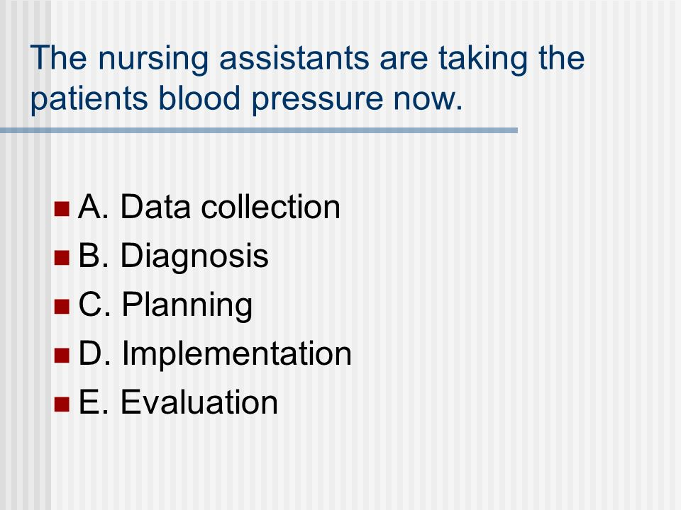 The nursing assistants are taking the patients blood pressure now.
