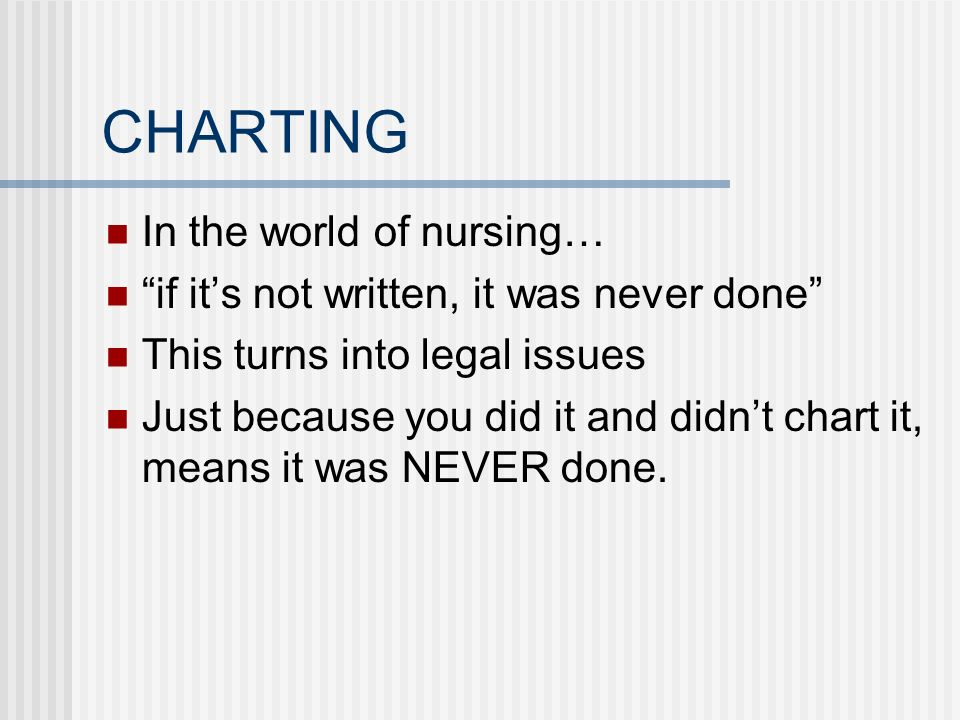CHARTING In the world of nursing…