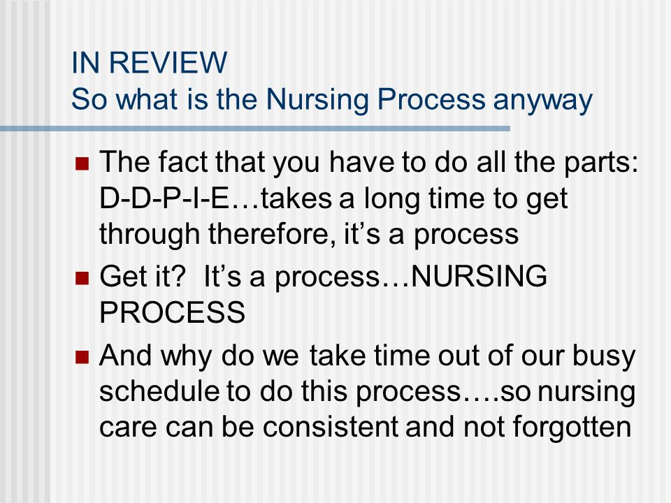 IN REVIEW So what is the Nursing Process anyway