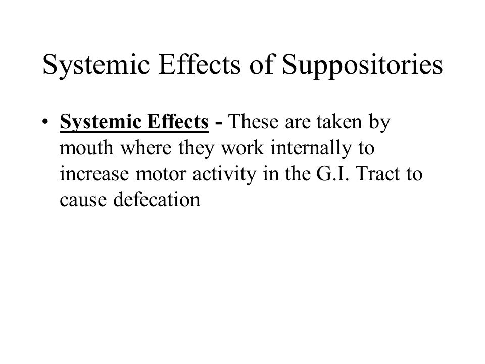 Systemic Effects of Suppositories