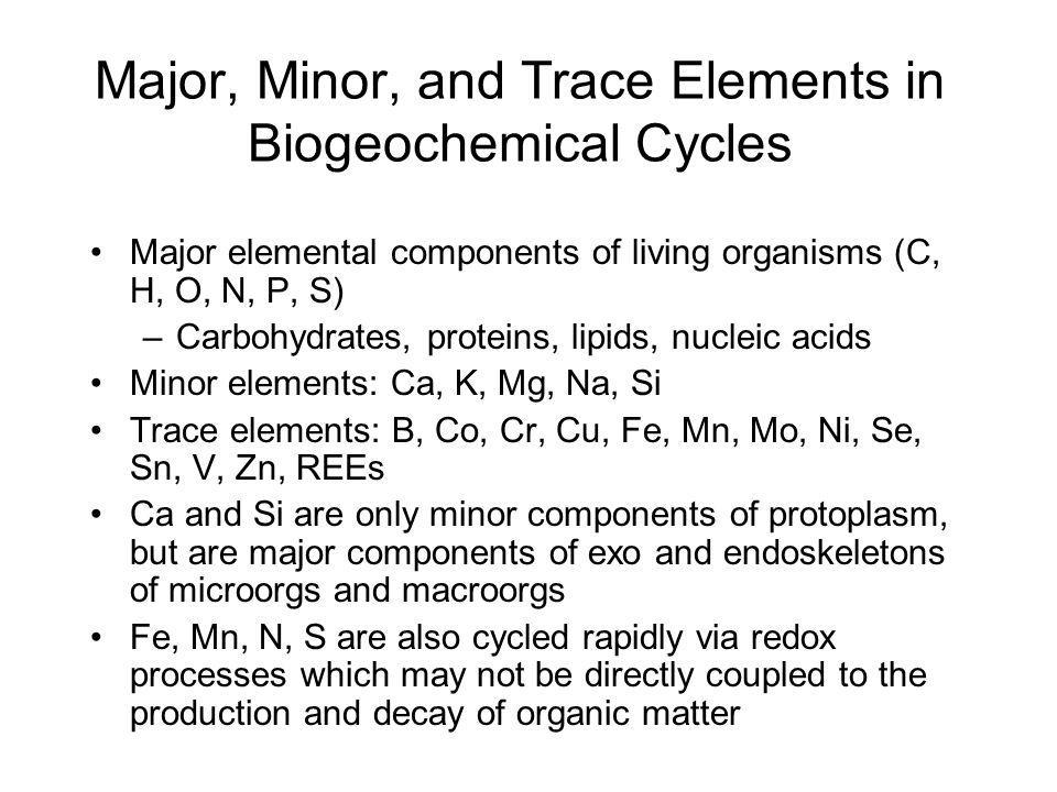 Major, Minor, and Trace Elements in Biogeochemical Cycles