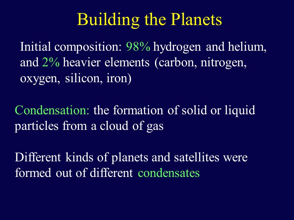 Building the Planets Initial composition: 98% hydrogen and helium, and 2% heavier elements (carbon, nitrogen, oxygen, silicon, iron)