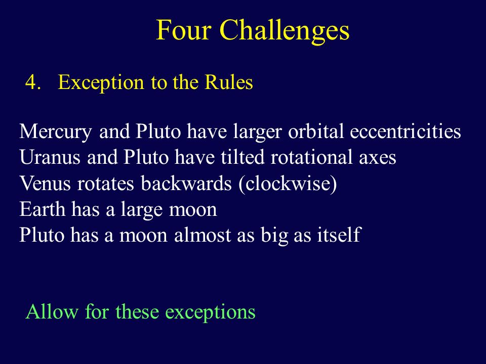 Four Challenges 4. Exception to the Rules