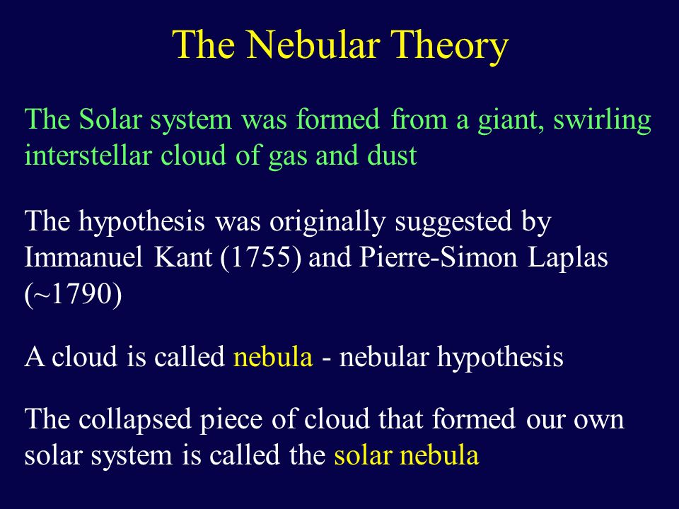 The Nebular Theory The Solar system was formed from a giant, swirling interstellar cloud of gas and dust.