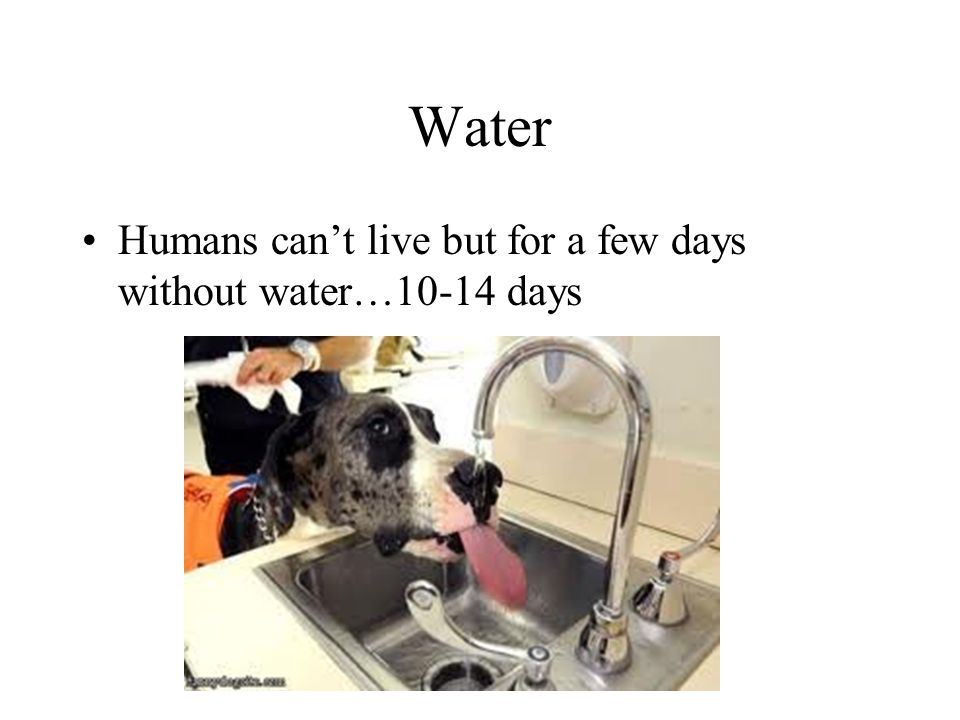 Water Humans can't live but for a few days without water…10-14 days