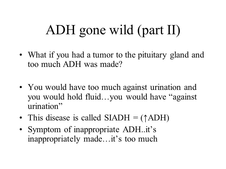 ADH gone wild (part II) What if you had a tumor to the pituitary gland and too much ADH was made