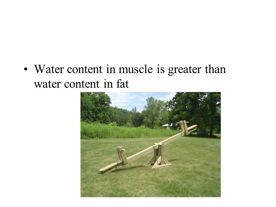 Water content in muscle is greater than water content in fat