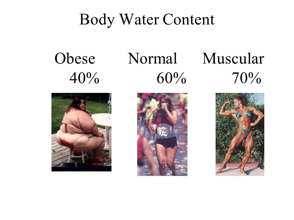 Body Water Content Obese Normal Muscular 40% 60% 70%