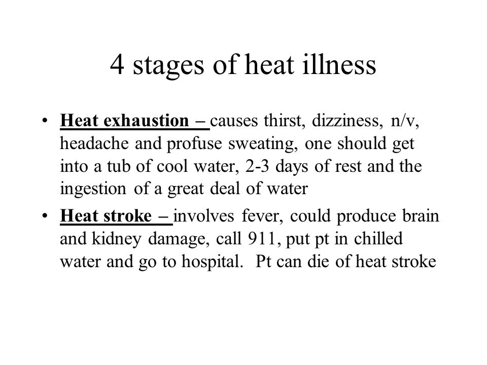 4 stages of heat illness