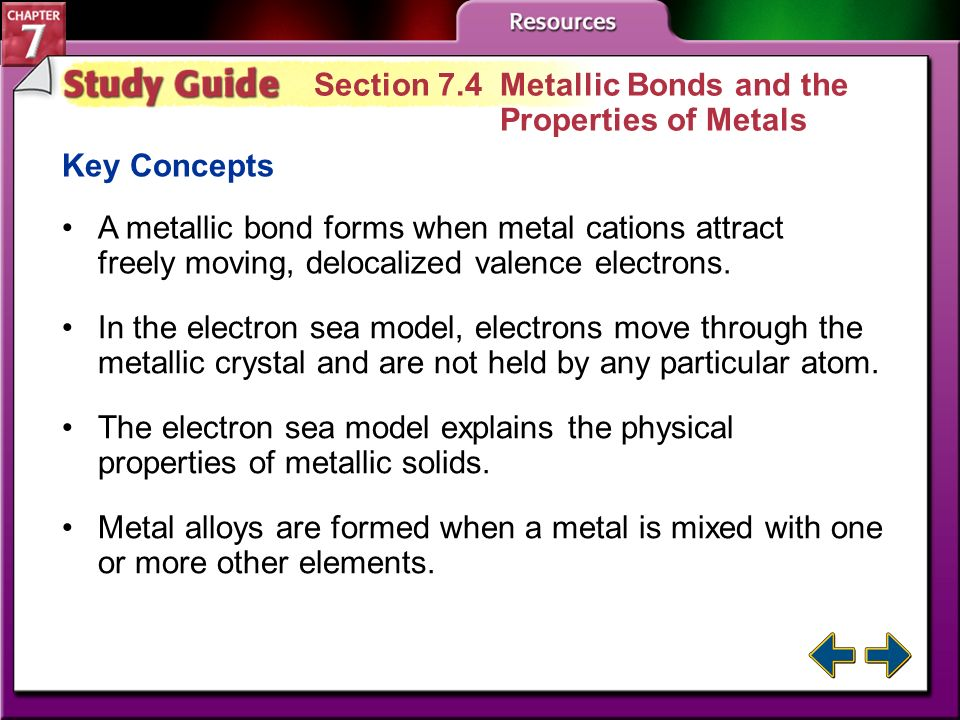 Section 7.4 Metallic Bonds and the Properties of Metals