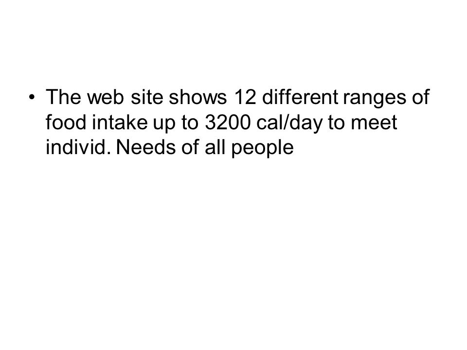 The web site shows 12 different ranges of food intake up to 3200 cal/day to meet individ.