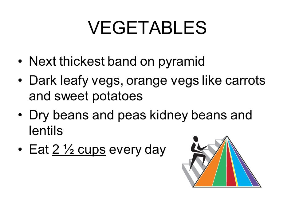 VEGETABLES Next thickest band on pyramid