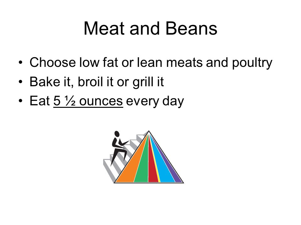 Meat and Beans Choose low fat or lean meats and poultry