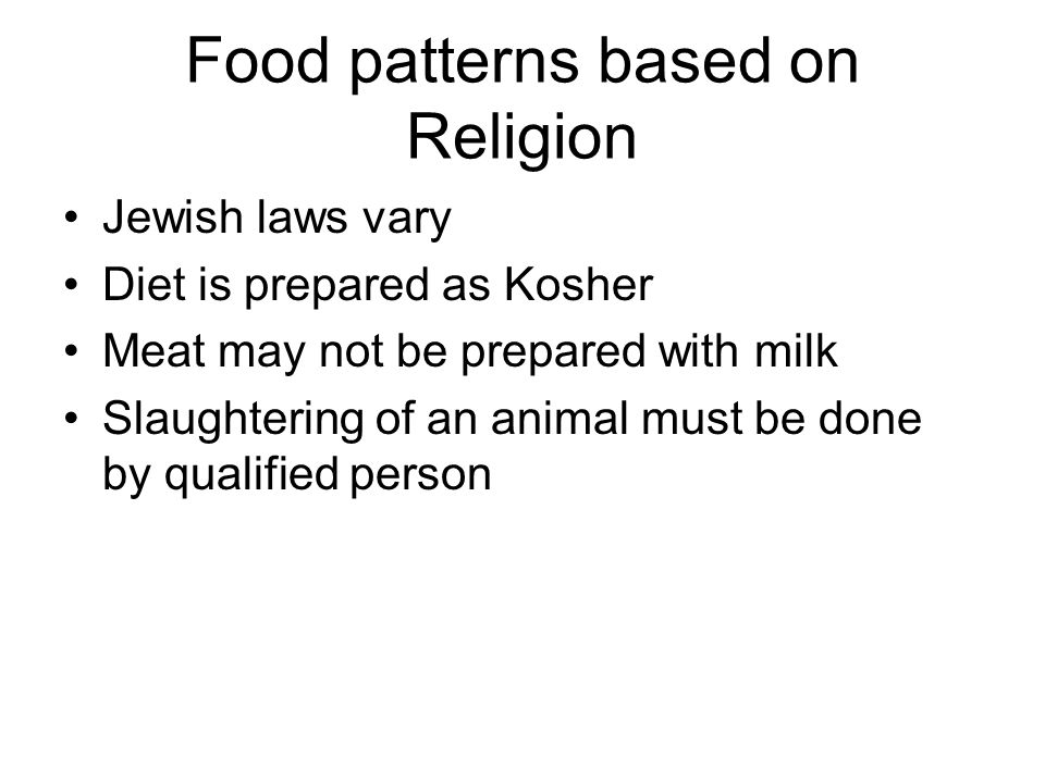 Food patterns based on Religion