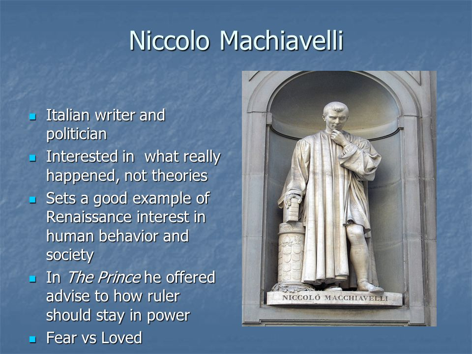 Niccolo Machiavelli Italian writer and politician