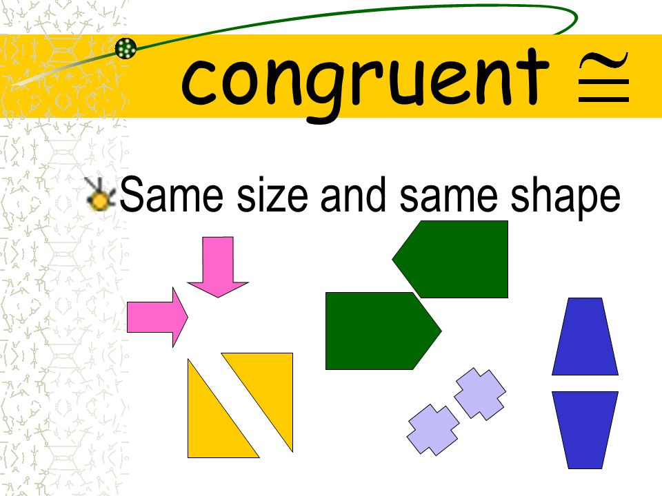 congruent Same size and same shape