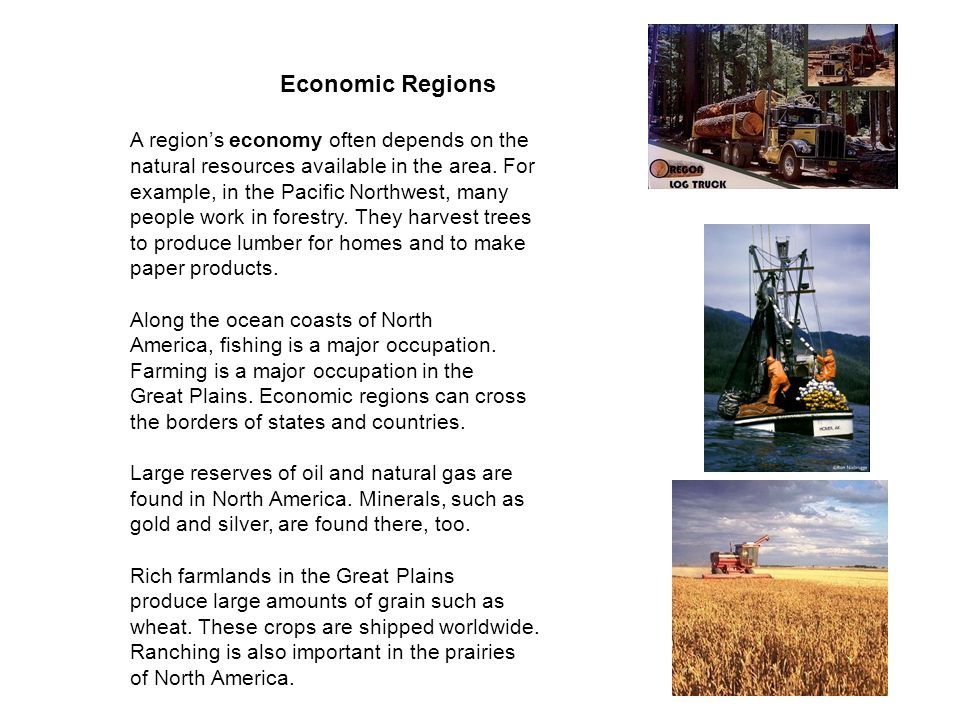 Economic Regions A region's economy often depends on the