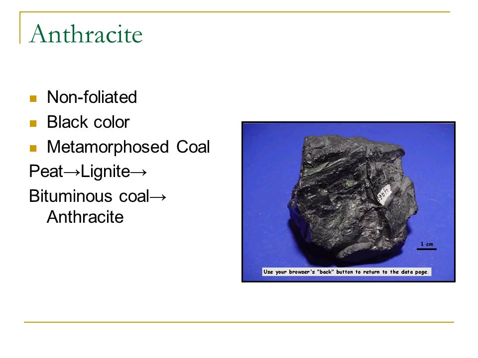 Anthracite Non-foliated Black color Metamorphosed Coal Peat→Lignite→