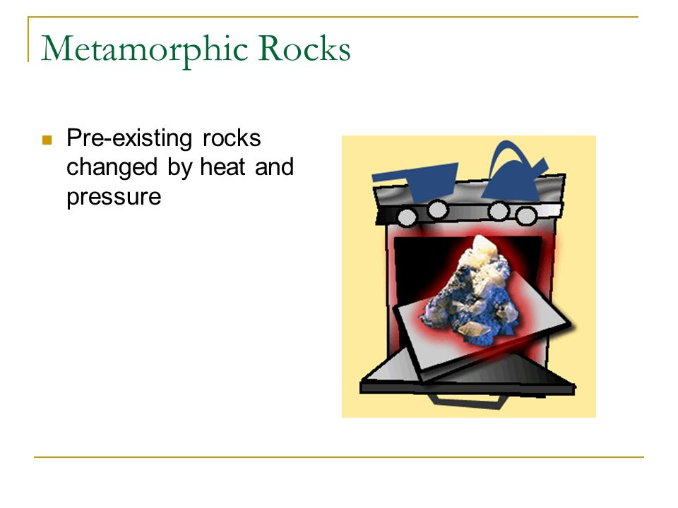 Metamorphic Rocks Pre-existing rocks changed by heat and pressure
