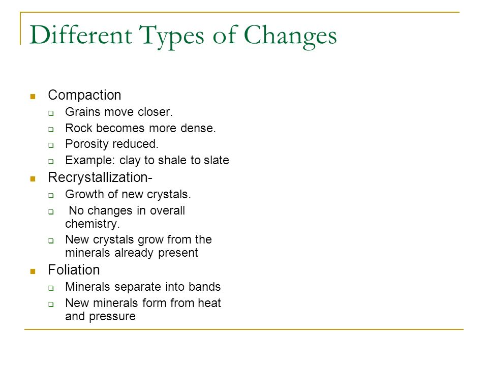 Different Types of Changes