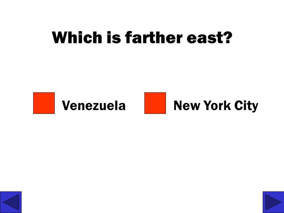 Which is farther east Venezuela New York City