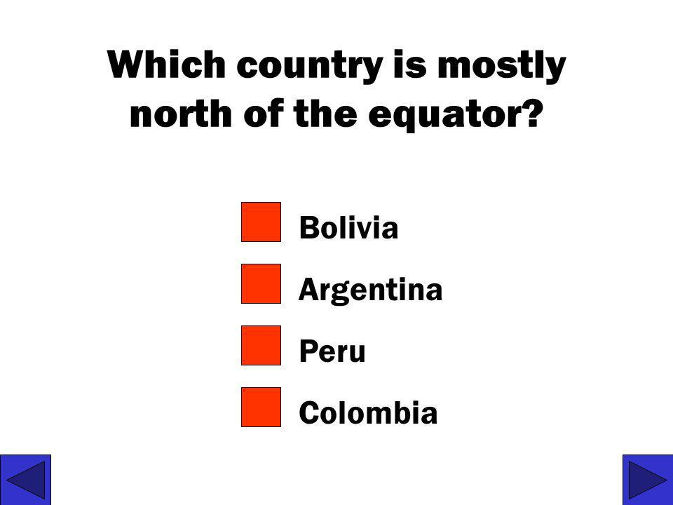 Which country is mostly north of the equator