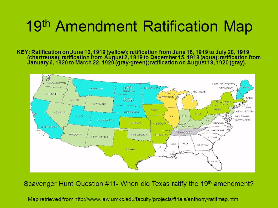 19th Amendment Ratification Map