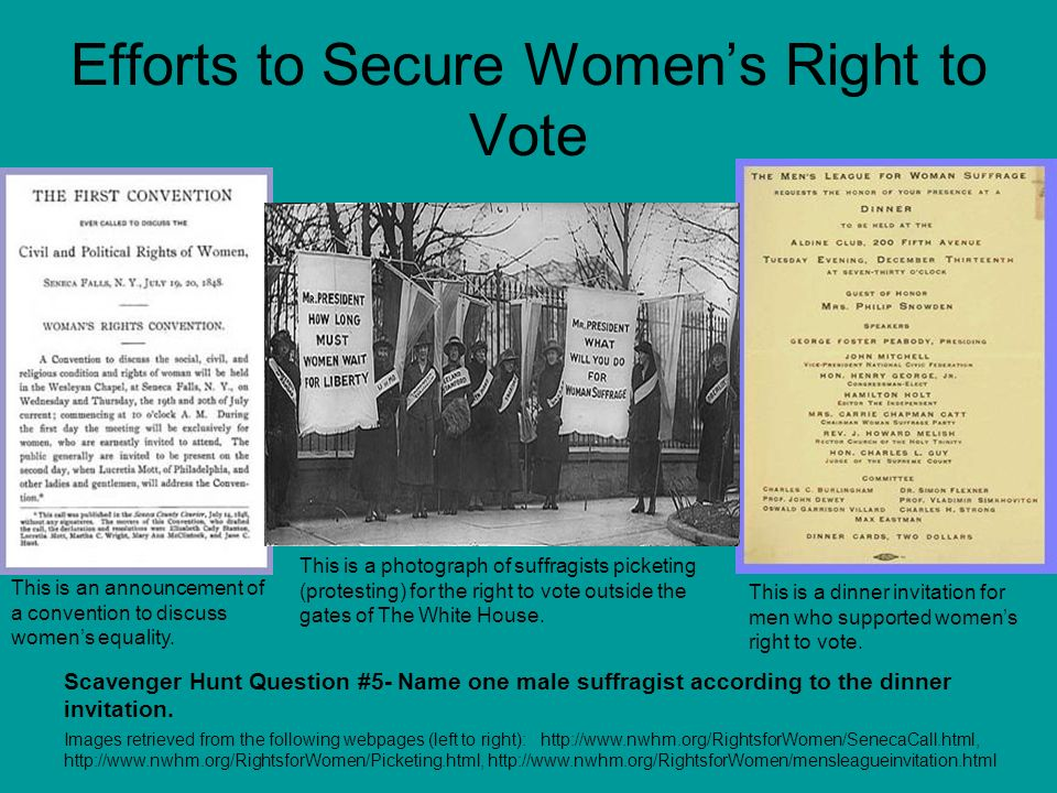 Efforts to Secure Women's Right to Vote