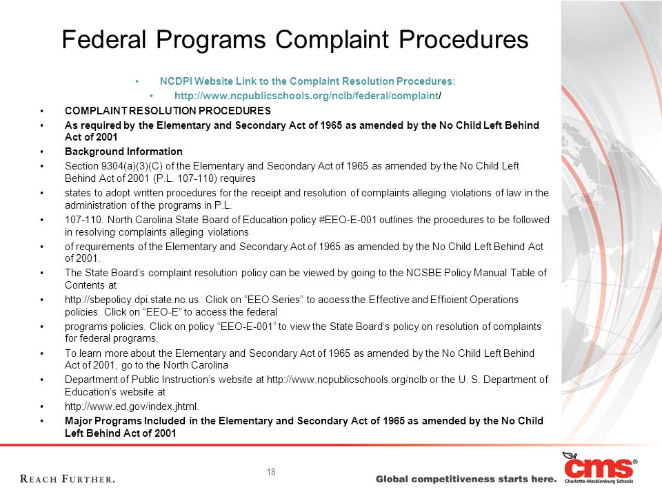 Federal Programs Complaint Procedures