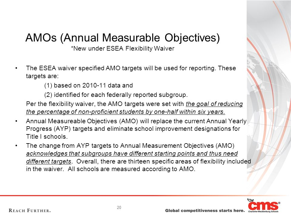 AMOs (Annual Measurable Objectives) *New under ESEA Flexibility Waiver