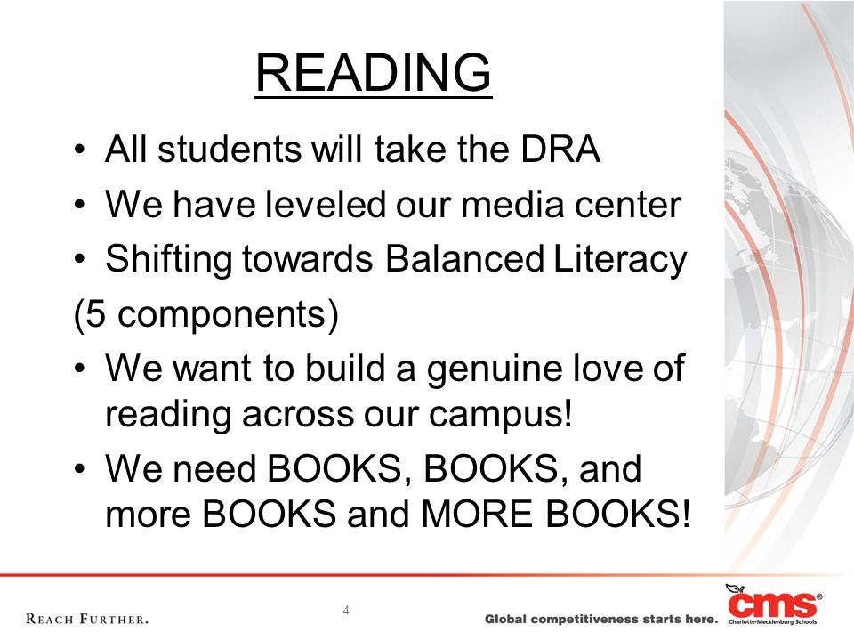 READING All students will take the DRA