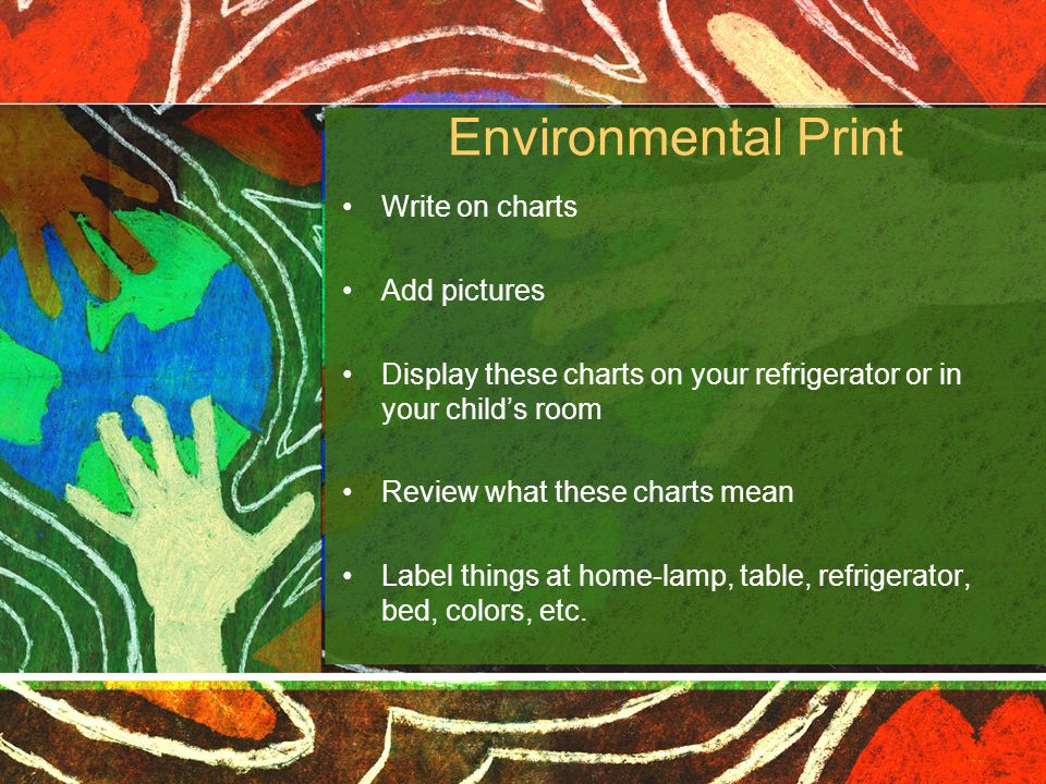 Environmental Print Write on charts Add pictures
