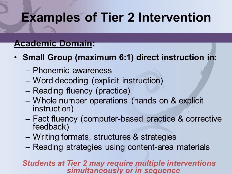 Examples of Tier 2 Intervention