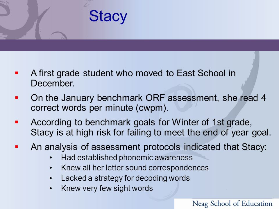 Stacy A first grade student who moved to East School in December.