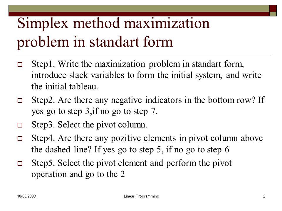 Simplex method example ppt