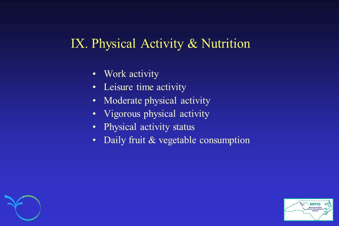 IX. Physical Activity & Nutrition