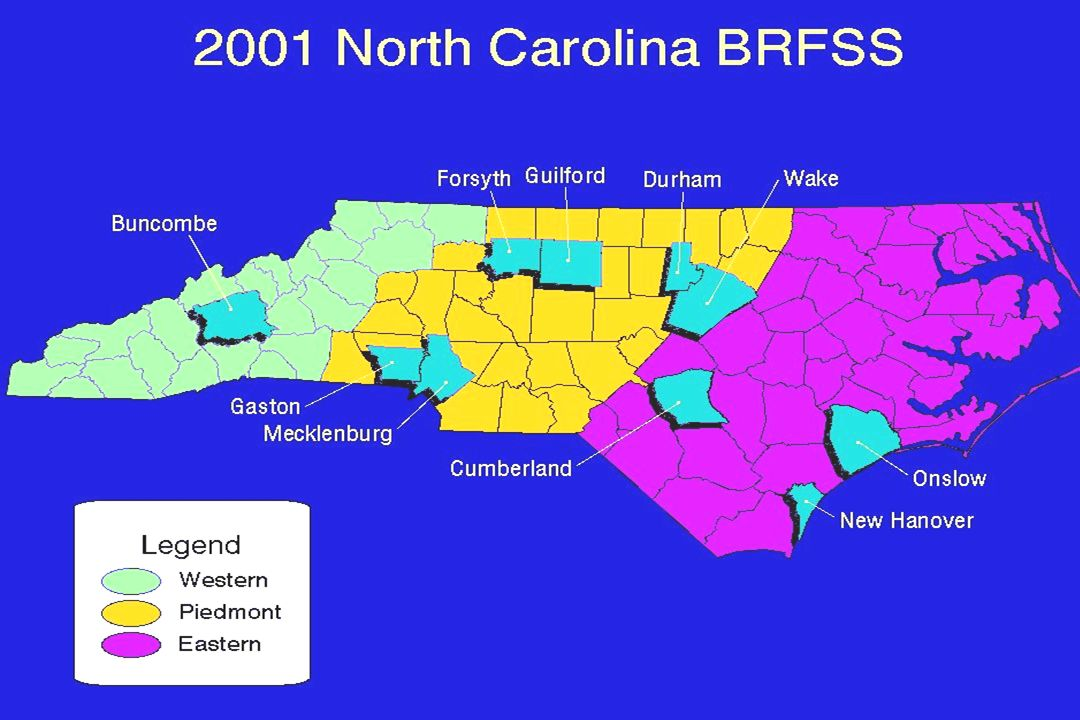 This slide shows the oversampled counties (in blue), which include Buncombe, Cumberland, Durham, Forsyth, Gaston, Guilford, Mecklenburg, New Hanover, Onslow, Wake.