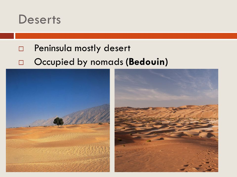 Deserts Peninsula mostly desert Occupied by nomads (Bedouin)