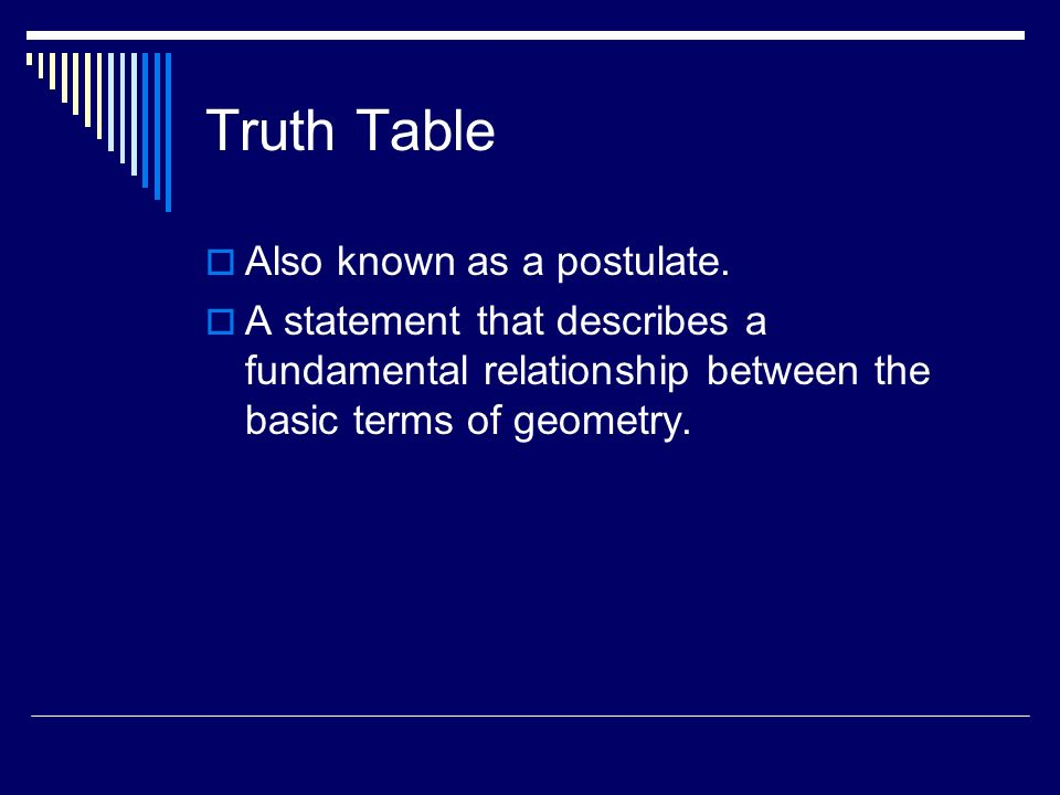 Truth Table Also known as a postulate.